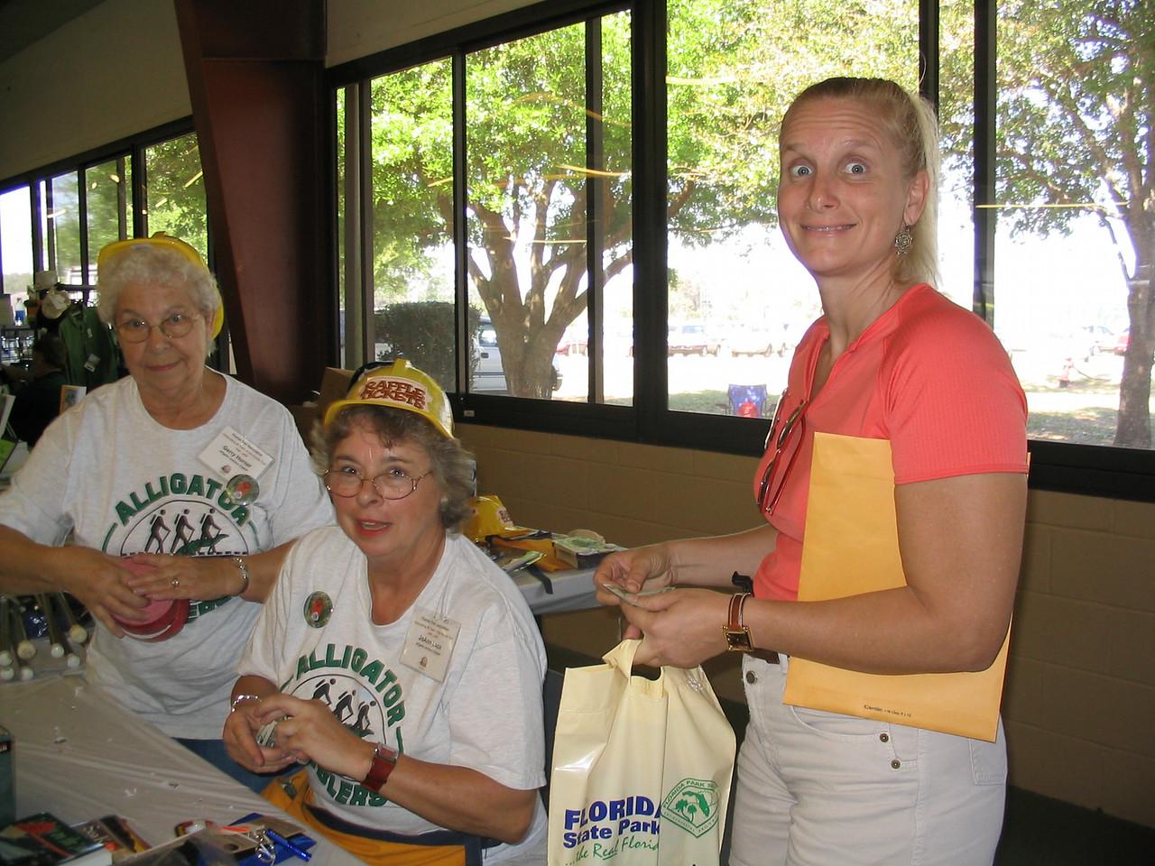 Amblers hard at work selling raffle tickets!<br /> PHOTO CREDIT: Diane Wilkins / Florida Trail Association