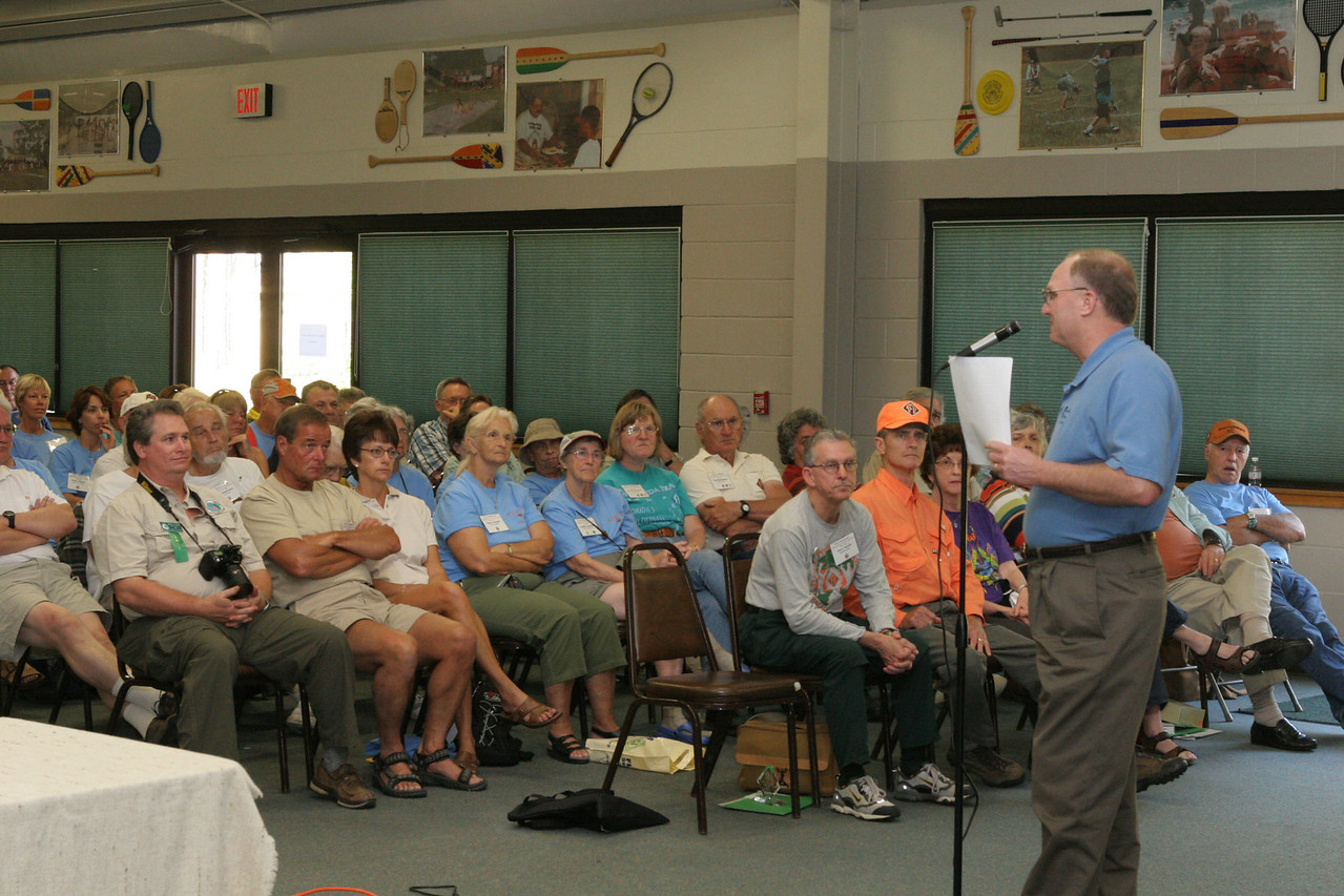 American Hiking Society president Greg Miller gives a talk<br /> PHOTO CREDIT: Diane Wilkins / Florida Trail Association