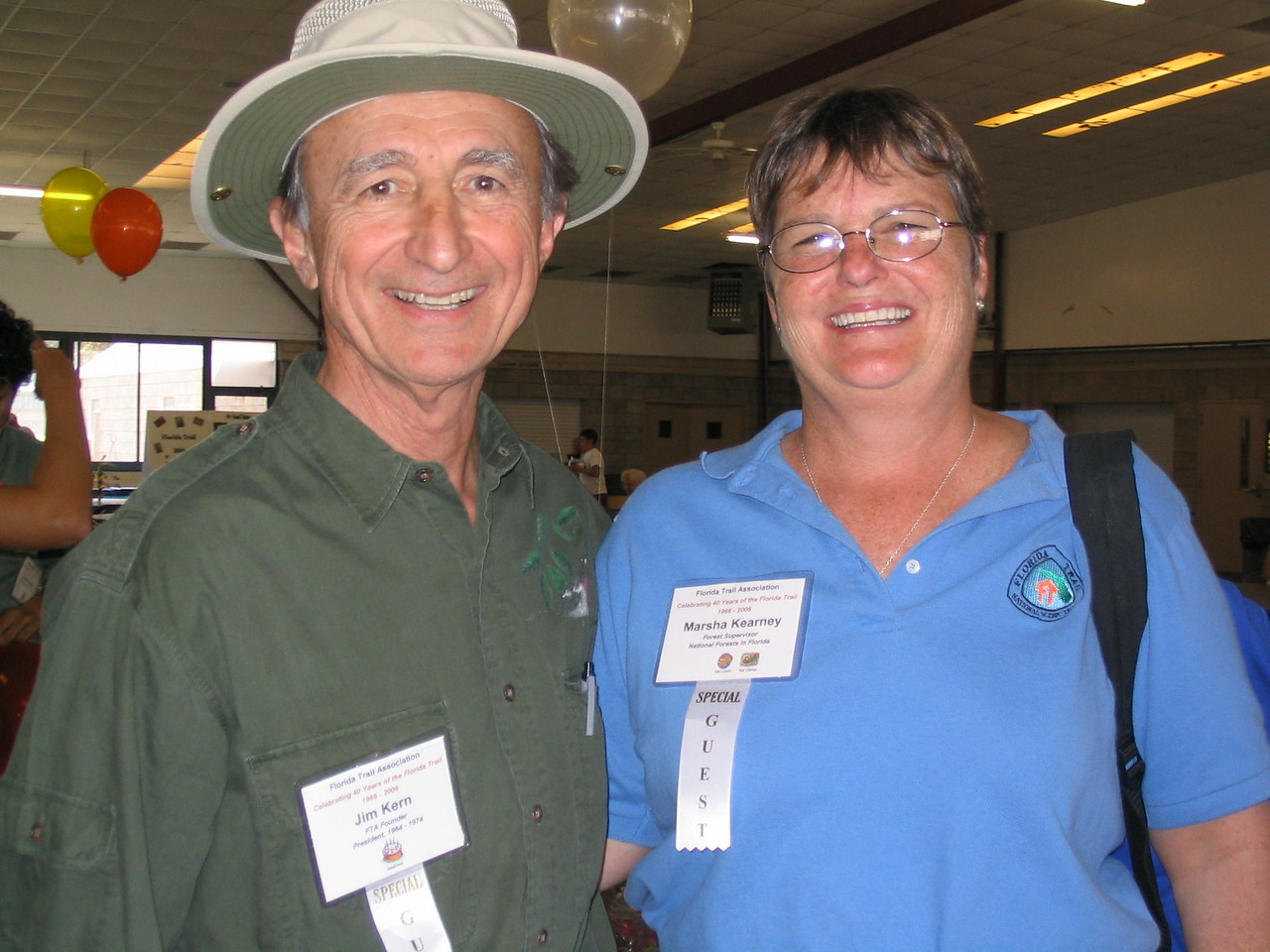 FTA Founder Jim Kern with Marsha Kearney, director of the National Forests in Florida<br /> PHOTO CREDIT: Diane Wilkins / Florida Trail Association