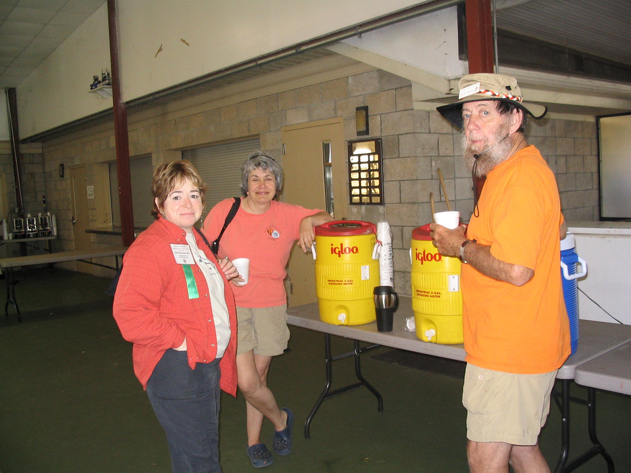 Deborah Stewart-Kent, Paula Snellgrove, and Swede Hansen around the water cooler<br /> PHOTO CREDIT: Diane Wilkins / Florida Trail Association