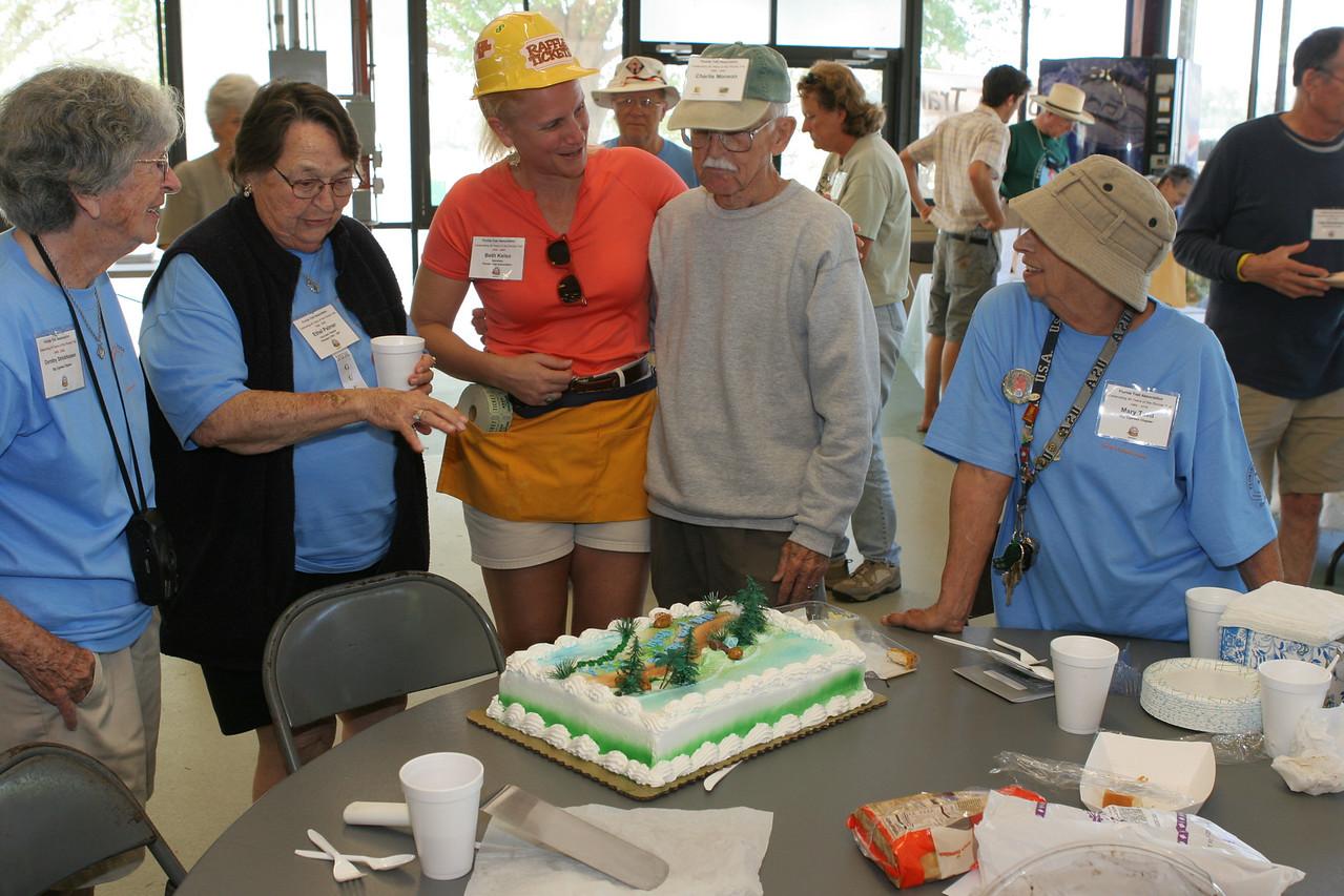 Friends bid farewell to Charlie Monson, who moved to Savanna.  <br /> PHOTO CREDIT: Bob Stone / Florida Trail Association