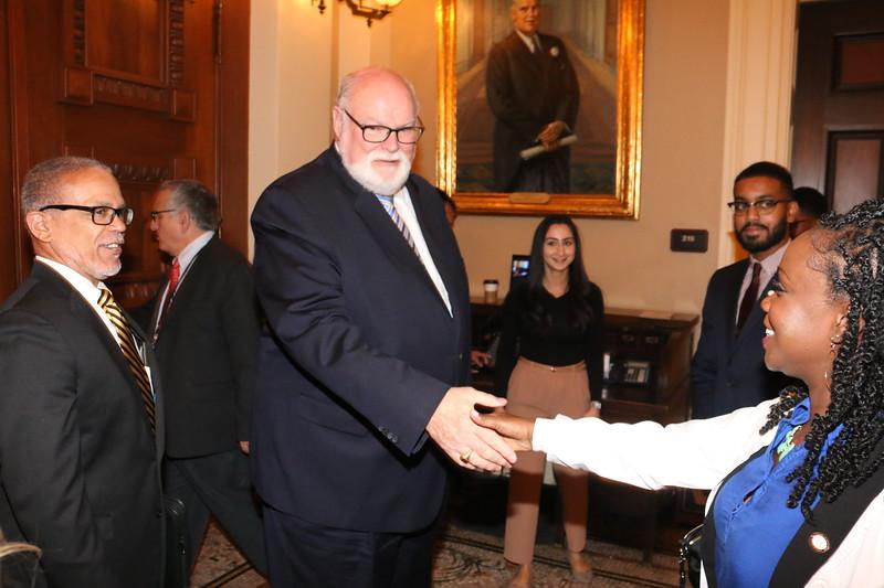 CA State Senator Jim Beall greets CDU Student Trustee Jazmyn Childress.
