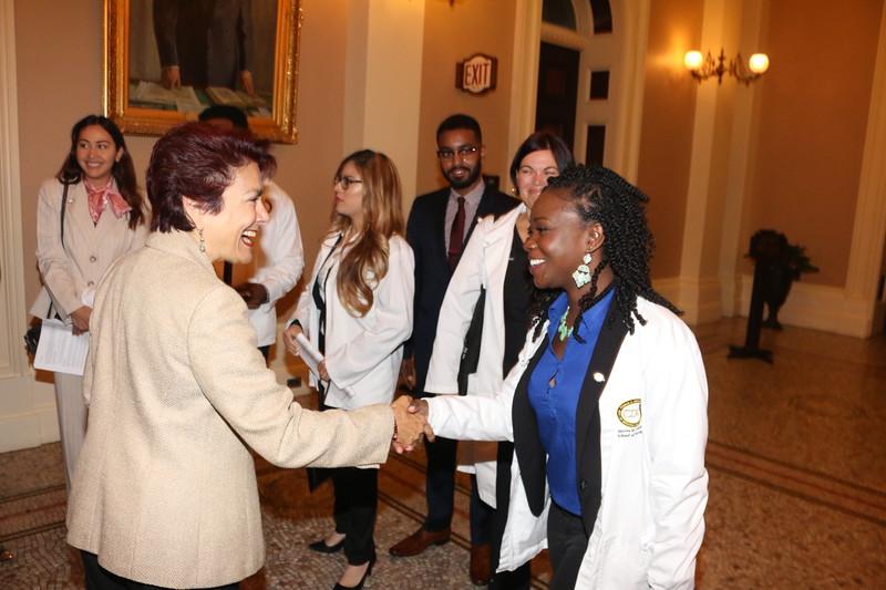 CA State Senator Anna M. Caballero meets CDU's Student Trustee Jazmyn Childress.