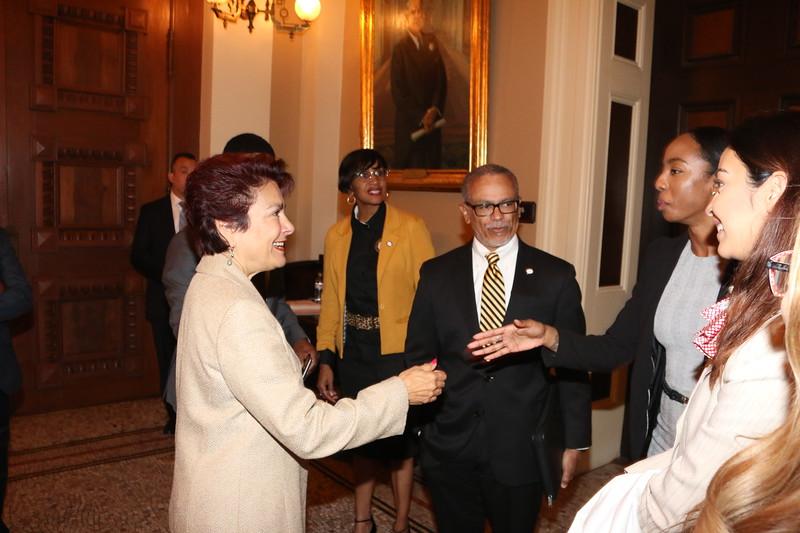 CA State Senator Anna M. Caballero meets CDU student Maria Kemp.