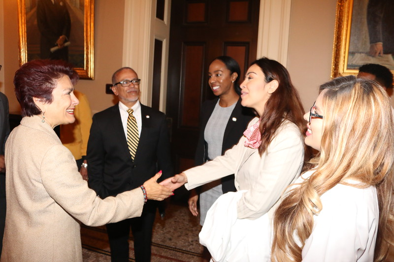 CA State Senator Anna M. Caballero meets CDUSG President Sana Abassi.