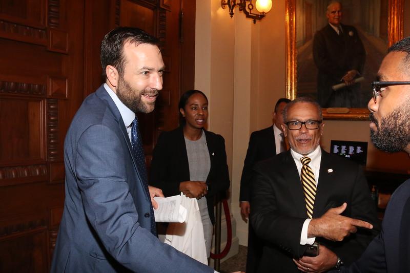 CA State Senator Benjamin Allen is introduced to CDU student Abdu Mahmoud by CDU President David M. Carlisle.