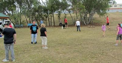 Playing cricket at FoTC Christmas Breakup 2012