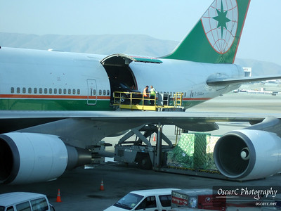 Car being loaded into the airplane