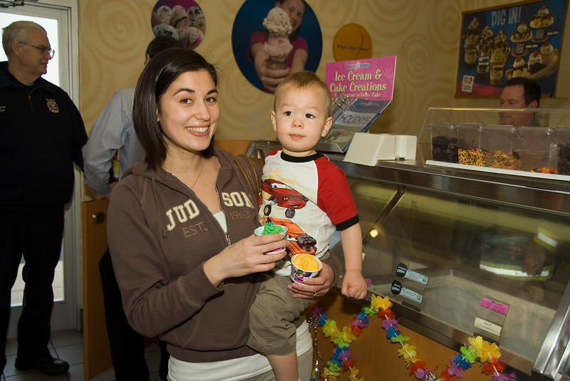 J.J. Gonnam (2 yrs. old) with mom, Jennifer, getting ready to sit down and enjoy their 62 cents of ice cream. ;-)