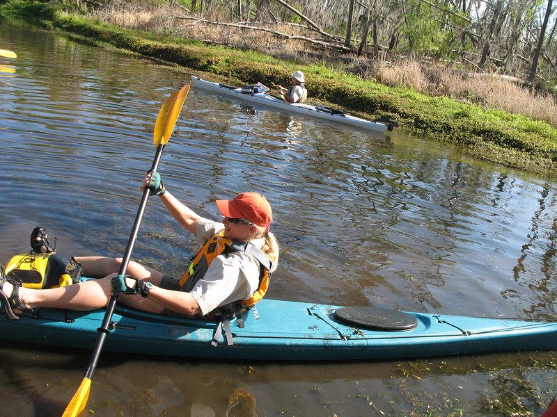 Beth steadies her kayak