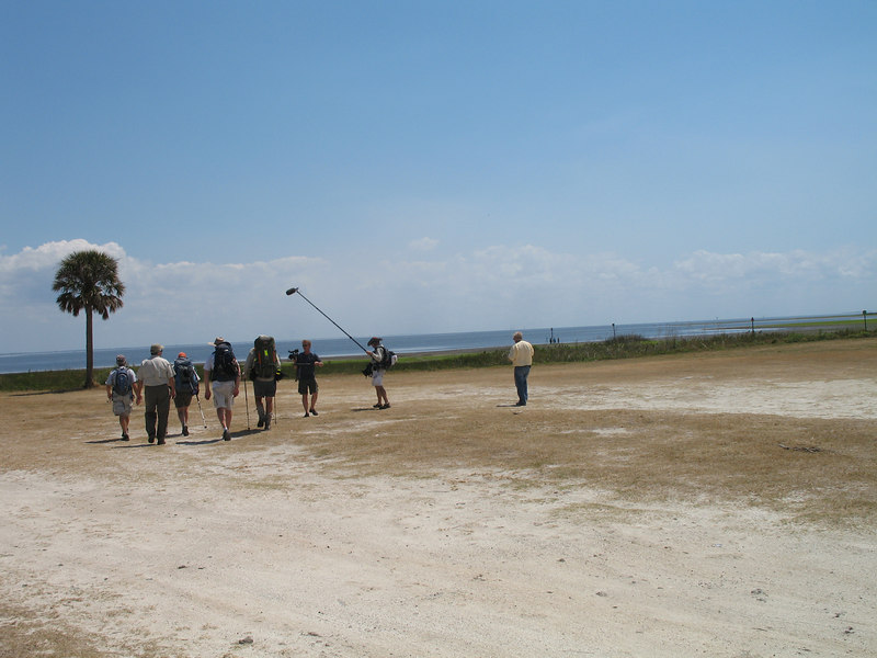 The hikers head for Lake Okeechobee with the camera crew accompanying