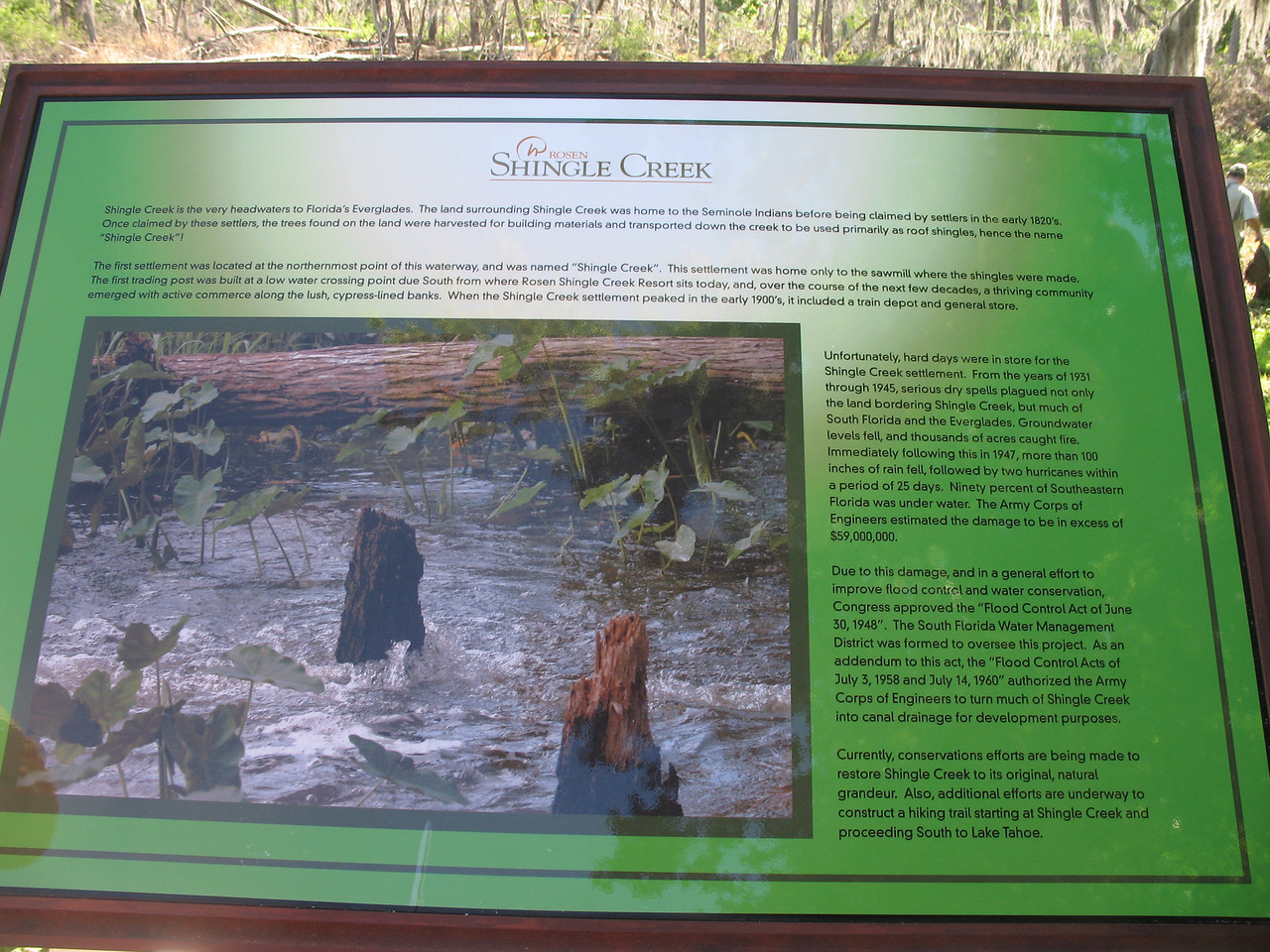 Interpretive sign at the headwaters