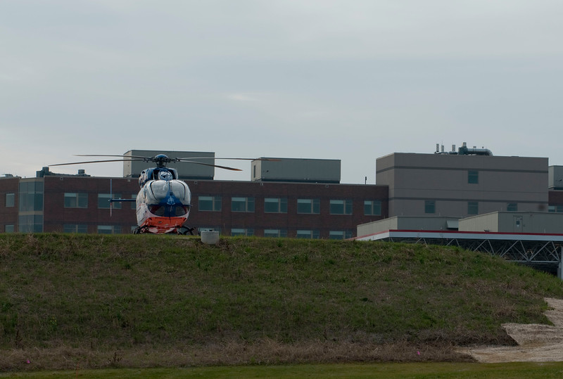 Flight for Life's new EC-145 on the new helipad at the new Sherman Hospital - Dec. 2, 2009