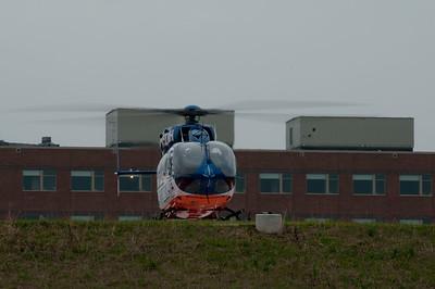 Flight for Life's new EC-145 on the new helipad at the new Sherman Hospital - Dec. 2, 2009