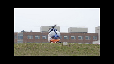 Flight for Life's new EC-145 taking off from the new Sherman Hospital helipad after the crew got the grand-tour of the new facilities.  (Check out the rotorblades and tailrotor at lift off!)
