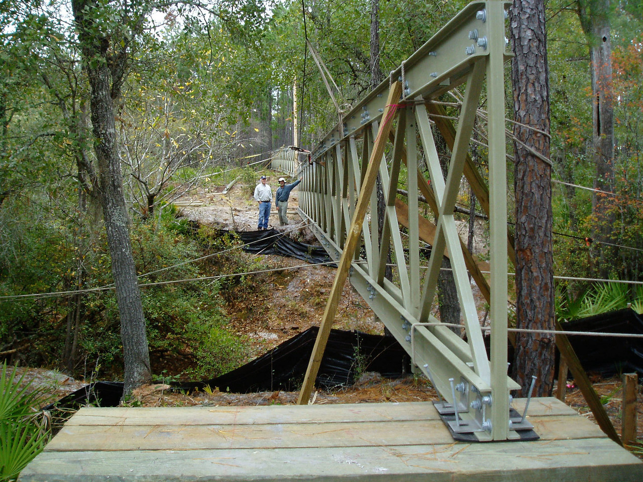 The Monkey Creek Bridge under construction, as seen from the south shore.      PHOTO CREDIT:  Kent Wimmer / Florida Trail Association