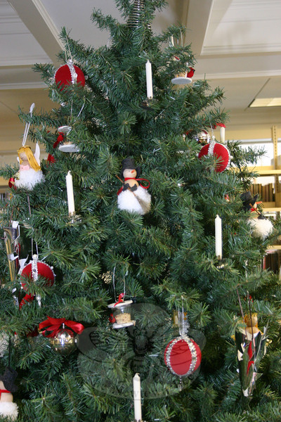 Some of the ornaments on the Town & Country Garden Club Christmas tree at C.H. Booth Library.  (Hicks photo)