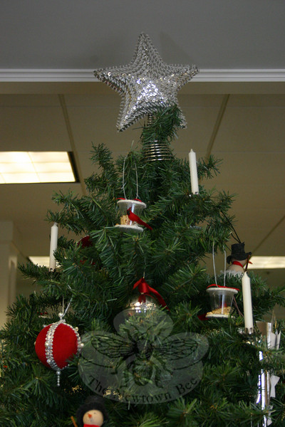 A sequined star serves as the topper for the Town & Country Garden Club of Newtown Christmas tree at C.H. Booth Library.  (Hicks photo)