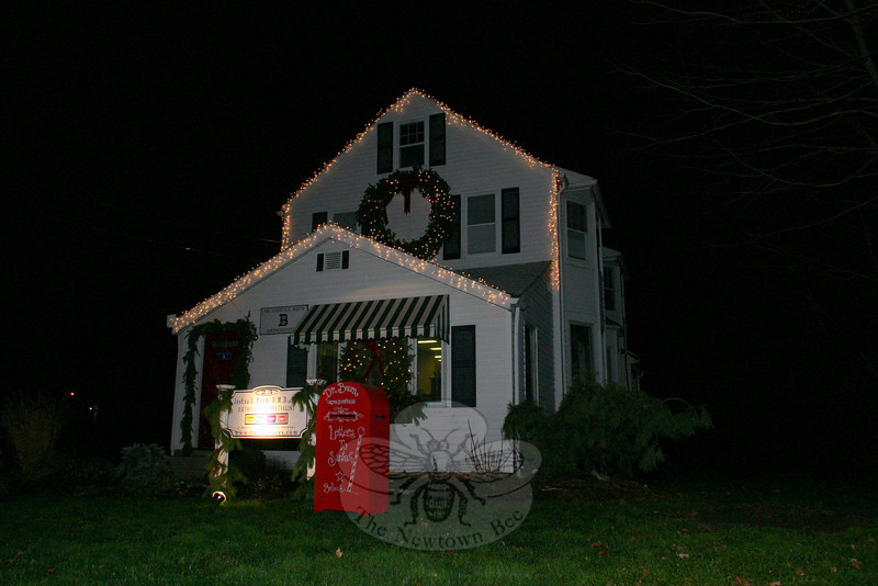 Dr Baum's office on Church Hill Road is decorated with a huge wreath and lights, as well as a special mailbox that will deliver letters directly to Santa.  (Hicks photo)
