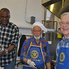 """From left, """"Mix Master"""" Gary Steele and official Rotary Club chefs Dr Robert Grossman and Skip Roberts pause during a busy morning of making and flipping pancakes Saturday, December 4, in the kitchen of The Alexandria Room at Edmond Town Hall. The Rotary Club hosted its 50th Annual Pancake Breakfast on Saturday.  (Crevier photo)"""