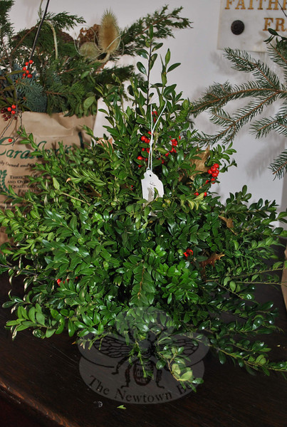The Garden Club of Newtown offered its annual greens sale at Newtown Meeting House on Saturday, December 4. The sale was quite a success: the ladies sold their entire inventory well ahead of their scheduled 1 pm closing time.  (Crevier photo)