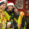 Karin Halstead with friends, prior to the Sandy Hook tree lighting on December 5.  (Bobowick photo)