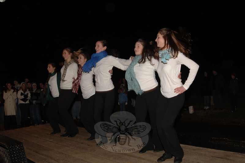 The NHS Hawkettes offered entertainment during the tree lighting at Ram Pasture on Friday, December 4, 2009.  (Bobowick photo)