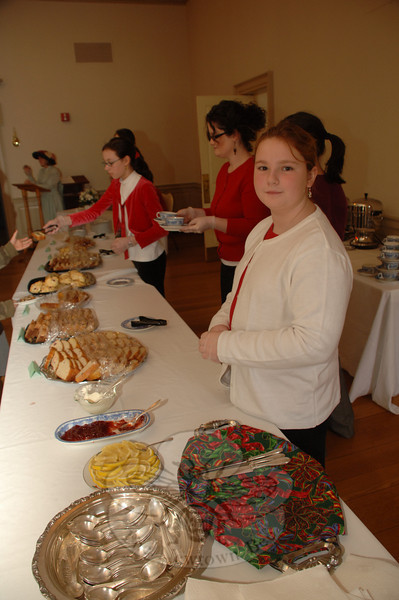 Amy Pruner helped as a server at the Victorian Tea.  (Bobowick photo)