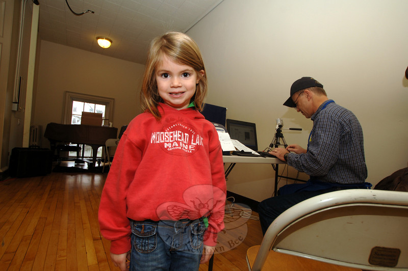 Elle Wilson was a guest at the 49th Rotary Club of Newtown Pancake Breakfast at Edmond Town Hall, and her parents took advantage of the free Amber Alert ID service that was also available that morning.  (Bobowick photo)