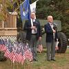 VFW Post 308 Senior Vice Commander William Farley, left, beside veteran and First Selectman Joe Borst during the post's Veterans' Day ceremony.  (Bobowick photo)