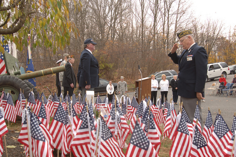 Offering a salute during the Veterans' Day ceremony at Newtown VFW Post 308.  (Bobowick photo)