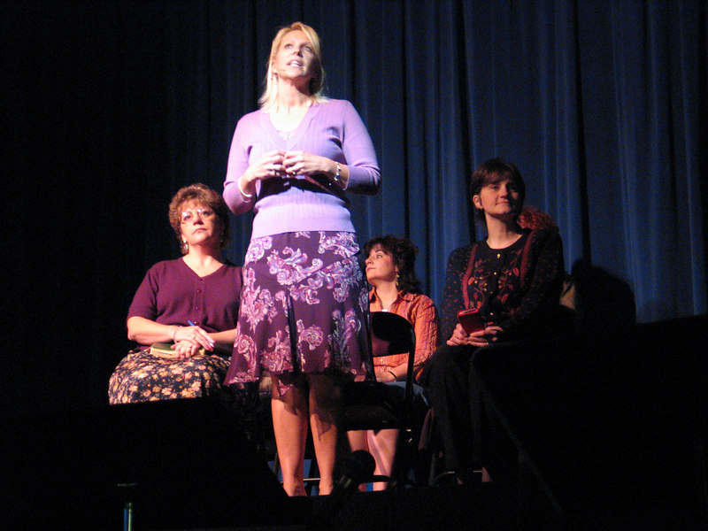 Kristy Ingalls, regular cast member of many stage productions and dinner theatres, radio character on the morning show, advisory board member, reciting a poem.