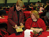 Shirley Palmer and Tammy Nichols, from Danville, NY,  check out their purchases back at their table.