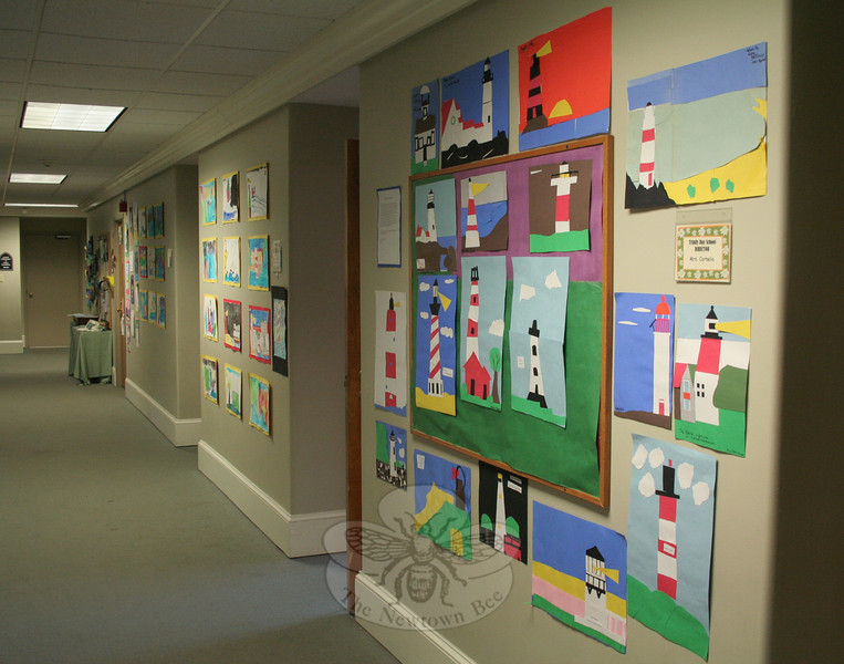 Artwork of myriad forms by local schoolchildren covered the interior walls of the Main Street church.   (Hicks photo)