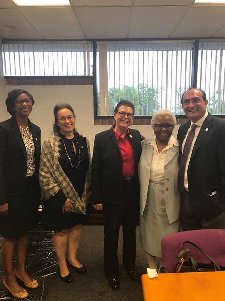 Charles R. Drew University of Medicine and Science's monthly M. Alfred Haynes Lecture Series participants:  From left: Dr. Keosha Partlow, Director of the Urban Health Institute which hosted the event, Sylvia Drew Ivie,JD, Special Assistant to the President of CDU, Dr. Susan Love, co-keynote speaker and researcher on Breast Cancer, Mrs. M. Alfred Haynes, the wife of Fr. M. Alfred Haynes, and and Dr. Jay Vadgama, co-keynote speaker, Vice President and Director of the Cancer Research at CDU. Both Dr. Love and Dr. Vadgama presented today.