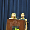"Graduating eighth graders Claire Beiter and Julia Bogdanoff performed the ""Star Spangled Banner"" during the moving up ceremony.   (Dietter photo)"