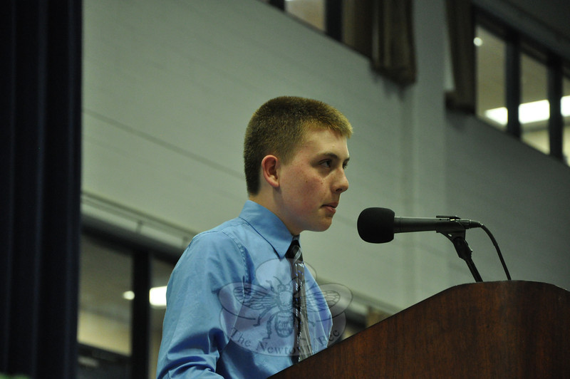 NMS Student Council President Robert Hutchins took to the podium after Ms Sherlock and delivered a speech highlighting the importance of community service.   (Dietter photo)
