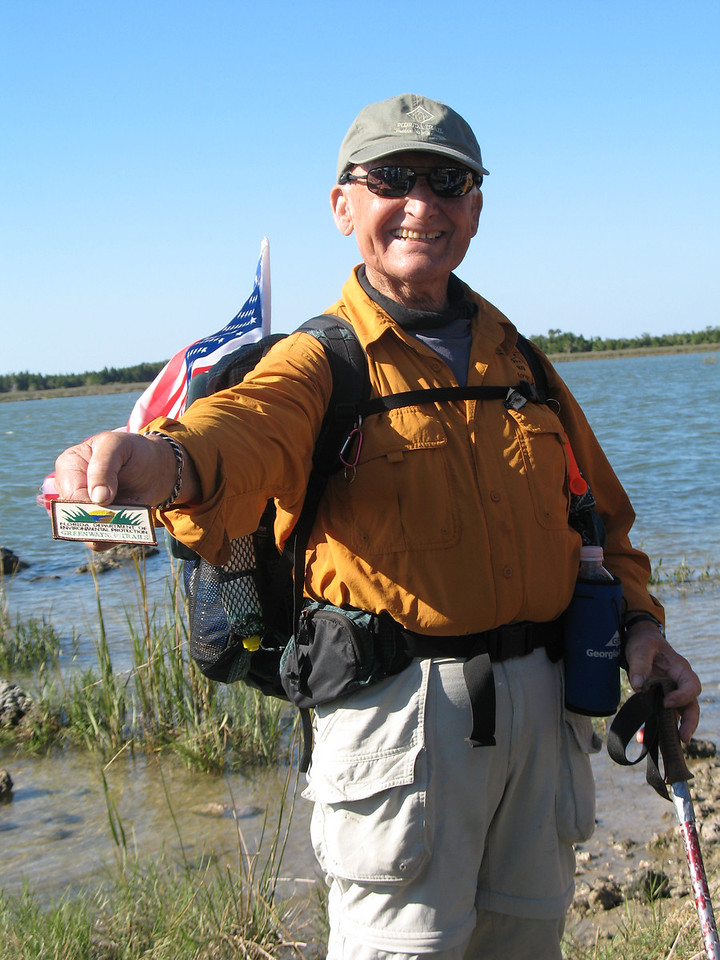 Al Kisarewich shows off his new patch from the Cross Florida Greenway