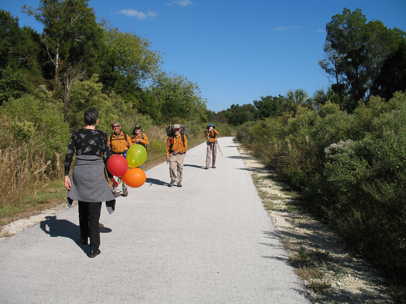 Ken\'s wife Norma Jean meets the hikers as they approach Withlacoochee Bay