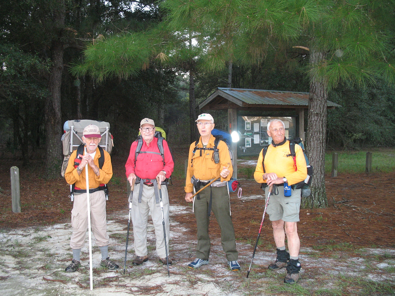 Nov 3: At Marshall Swamp Trailhead. Charlie, Cliff, Ken, and Al.