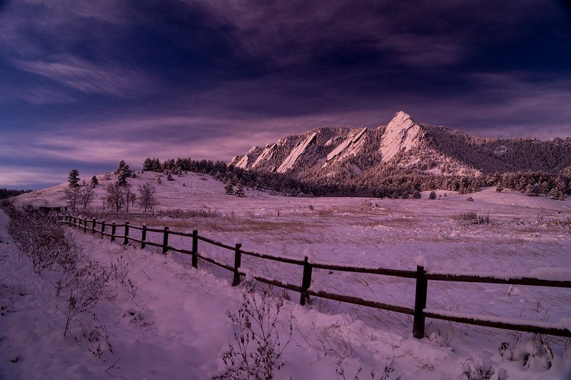 Morning light on the Flatirons after a winter storm.