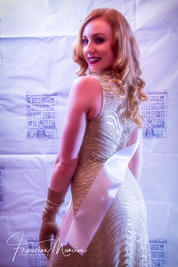 Model Tiffany Rudi wearing Kim Cattrall's gown