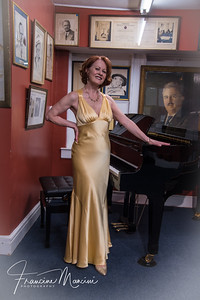 Mary Lou Barber in Anita Gillette's satin gown.