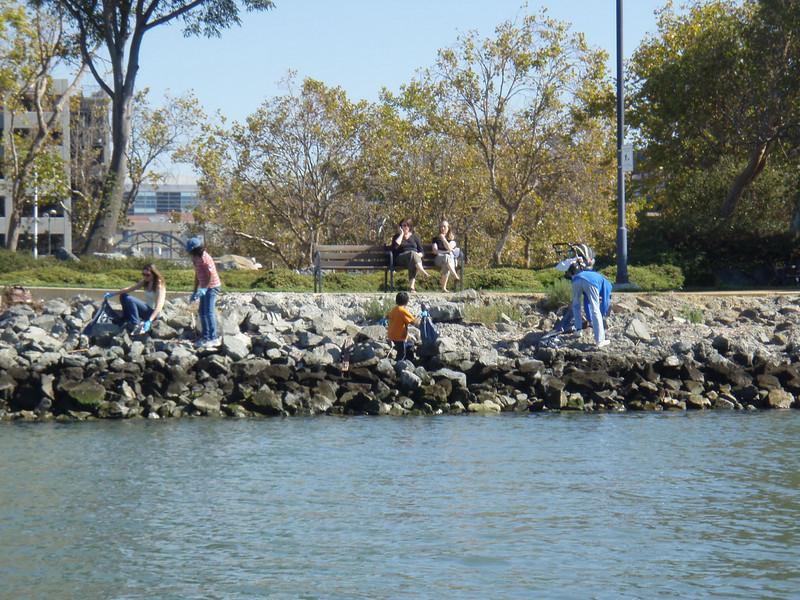Coastal Clean-up along teh Oakland Estuary.