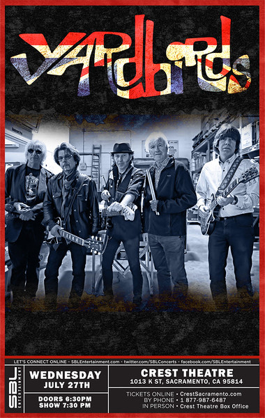 Yardbirds poster for Crest Theatre show.