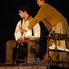 Ben Stoller, left, and Alexandra Aug, right, play the lead roles of Sweeney Todd/Benjamin Barker and Mrs Nellie Lovett, respectively, in Newtown High School's production of Sweeney Todd, which opens March 15. —Bee Photo, Hallabeck