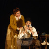 Ben Stoller, right, and Alexandra Aug, left, play the lead roles of Sweeney Todd/Benjamin Barker and Mrs Nellie Lovett, respectively, in Newtown High School's production of Sweeney Todd, which opens March 15. —Bee Photo, Hallabeck