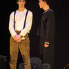 Ben Stoller, left, will play the role of Sweeney Todd/Benjamin Barker and Donny Morrissey will play Anthony Hope in the Newtown High School's Drama Club production the school version of Stephen Sondheim's Sweeney Todd set for showings this weekend, Thursday through Sunday, March 15-18. —Bee Photo, Hallabeck