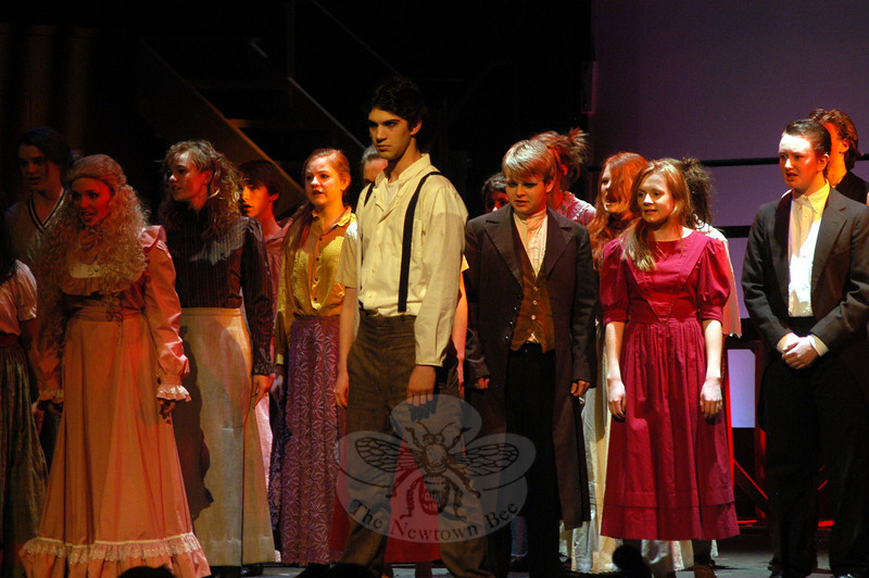 The Newtown High School's Drama Club is set to take the stage this weekend, Thursday through Sunday, March 15-18, with this year's musical production of the school version of Stephen Sondheim's Sweeney Todd. Ben Stoller, center, has the role of Sweeney Todd/Benjamin Barker in the production. —Bee Photo, Hallabeck