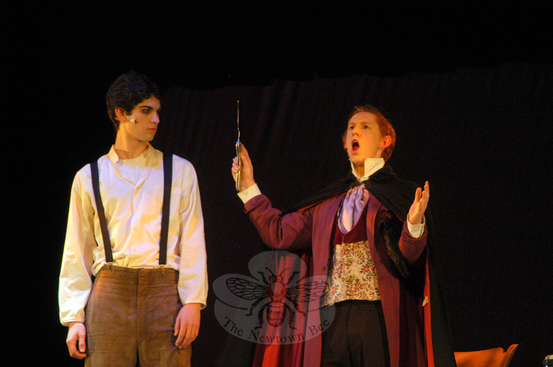 Ben Stoller, left, will play the role of Sweeney Todd and Luke Shearin will play Adolfo Pirelli/Daniel O'Higgins in the Newtown High School's Drama Club production the school version of Stephen Sondheim's Sweeney Todd set for showings this weekend, Thursday through Sunday, March 15-18. —Bee Photo, Hallabeck